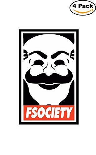 [Mr Robot Logo Fsociety Mask Decal Logo Vinyl Sticker 4 Stickers] (Robot Sticker)
