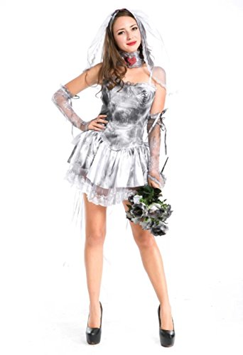 Plus Size Corpse Bride Costume (NonEcho Adult Marry Me Dead Zombie Bride Costume for Women 5 Pc)