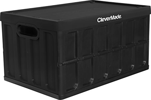 CleverMade CleverCrates 62 Liter Collapsible Storage Bin/Container: Solid Wall Utility Basket/Tote with Lid, Black