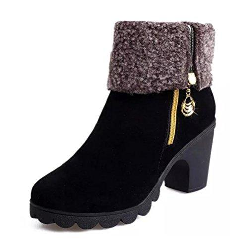 QPYC Damen hohe Schuhe Fersen Stiefel Side Pull Kette im Zylinder Stiefel zwei Verschleiß rutschfeste rau mit Plattform Damenschuhe , black cotton , 35
