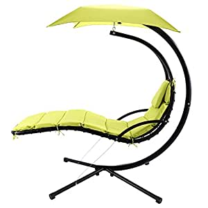 Skylin Hanging Chaise Lounger Chair Patio Swing Hammock Canopy Camping Outdoor Leisure(US Stock) (Green)