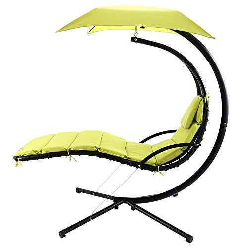 ANCHEER Hanging Chaise Lounger Arc Stand Air Porch Patio Swing Hammock Chair with Canopy, 350LBS Capacity, Cushion for Extra Comfort, Ideal for Garden Park Poolside Outdoor Leisure (Stand Hammock Replacement End Caps For)