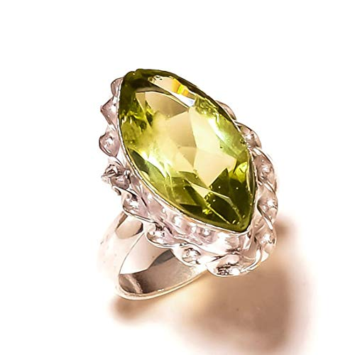 (Jewels House Marquise Green Amethyst Gemstone Silver Plated Handmade Rope Bezel Green Stone Ring US-7)