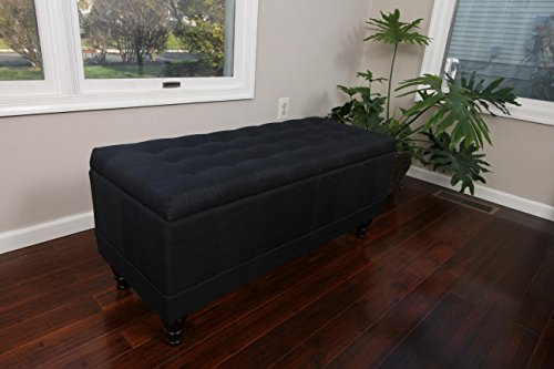 Home Life Lift Top Storage Bench with Tufted Accents Charcoal Black Linen Fabric with Wooden Legs