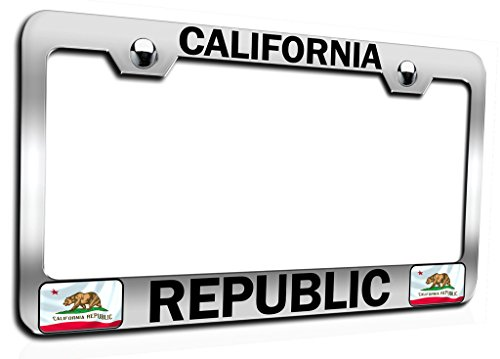 Makoroni - CALIFORNIA REPUBLIC Californian California Ch Steel Auto SUV License Plate Frame, License Tag Holder