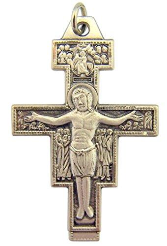 Sterling Silver Saint St Francis San Damiano Cross Crucifix Pendant, 1 5/8 ()