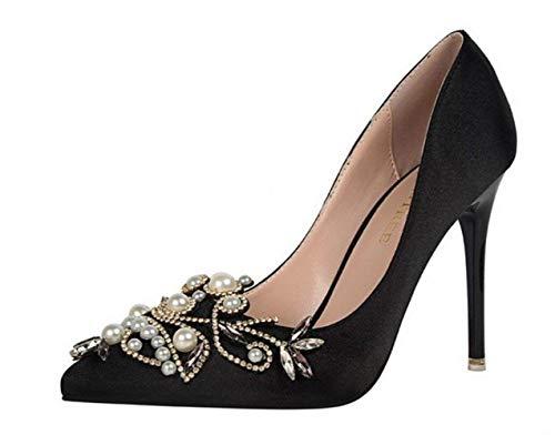 Cristal Filles Noir Reine Hauteur Dames Talons Mariage Chaussures Congshua Fête de Femmes Hauts Danse Talons Sandales Strass 10Cm Chaussures w1wUqYC