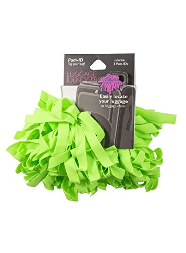 Lewis N. Clark Pomchies POM-ID Luggage Tags: Pom Pom Keychain, Backpack Tags, Luggage Identifiers + Hair Bows - Solid Lime (2 Pack)