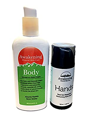 "Awakening HANDS ""New Package Design"" & Awakening BODY Magnesium-rich hand & body cream set for dry & chapped skin 3.38oz/100ml hand cream tube & 8.45oz/250ml body cream pump bottle)"