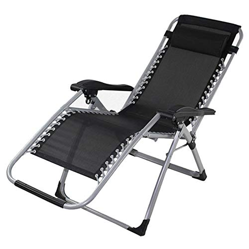 Limaomao Zero Gravity Chair Garden Chair Folding Reclining Deck Chairs Zero Gravity Sun Loungers Sun Bed Patio Conservatory Garden for Lounge Sunbathing (Color : Black, Size : 17865cm) (Danny Deck Chair)