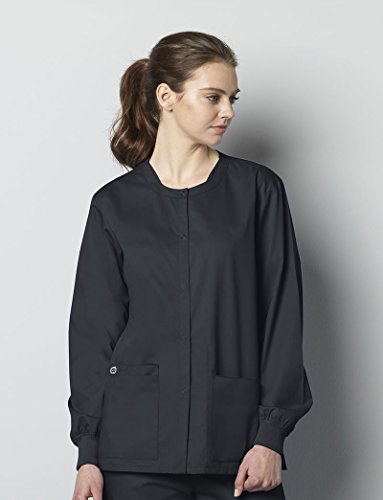 WonderWink Unisex-Adults Snap Front Jacket, Pewter, Small