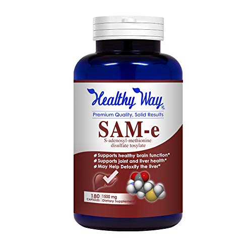 Healthy Way Best SAM-e 1500mg 180 Capsules (S-Adenosyl Methionine) to Support Mood, Joint Health, and Brain Function - Non-GMO USA Made