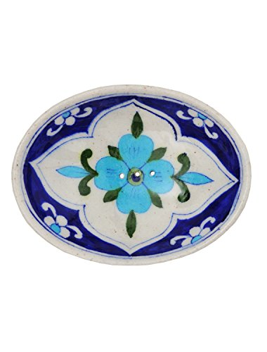 Tranquillo Ceramic Soap Dish, 5.12 '' Length x 3.74 '' Width x 0.79 '' Height Height, Blue Handpainted with Holes for Water Drainage