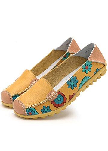 MatchLife Femme Rétro Cuir Flach Pumpe Casual Chaussures Style2-jaune qkqx5klJ