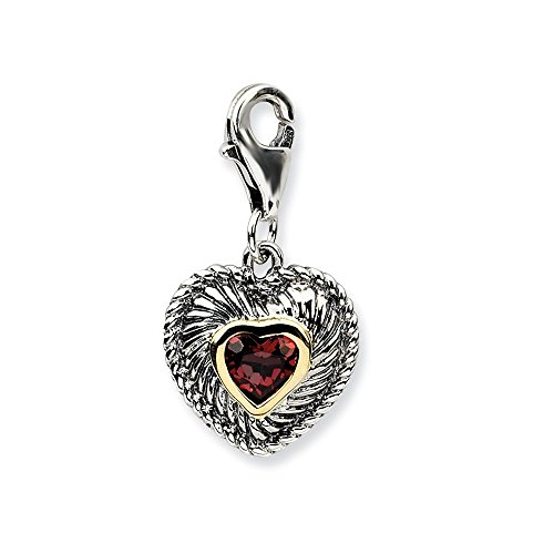 Couture Locket - Sterling Silver Fancy Lobster Closure With 14k Yellow Garnet Antiqued Charm - Measures 24x12mm
