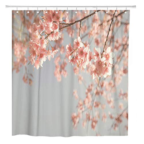 ArtSocket Shower Curtain Pink Photography Vintage Cherry Blossom Sakura Flower Nature Dreamy Home Bathroom Decor Polyester Fabric Waterproof 72 x 72 Inches Set with Hooks