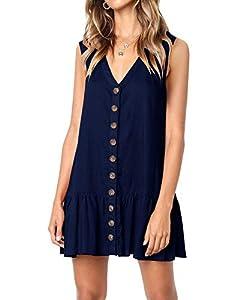 Imysty Womens Polka Dot V Neck Button Down Ruffles Loose Mini Short T-Shirt Dress (X-Large, Z2-Navy)