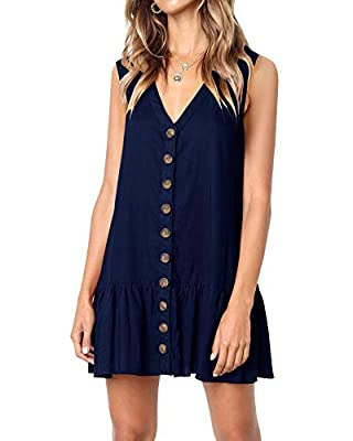 Imysty Womens Polka Dot V Neck Button Down Ruffles Loose Mini Short T-Shirt Dress (X-Large, Z2-Navy)