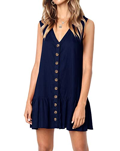 Beautife Womens Button Down V Neck Sleeveless Loose Swing Casual Mini T Shirt Dress Navy Blue