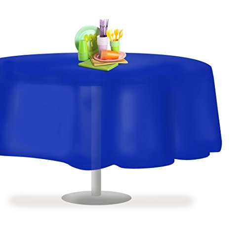 Blue 12 Pack Premium Disposable Plastic Tablecloth 84 Inch Round Table Cover By Grandipity