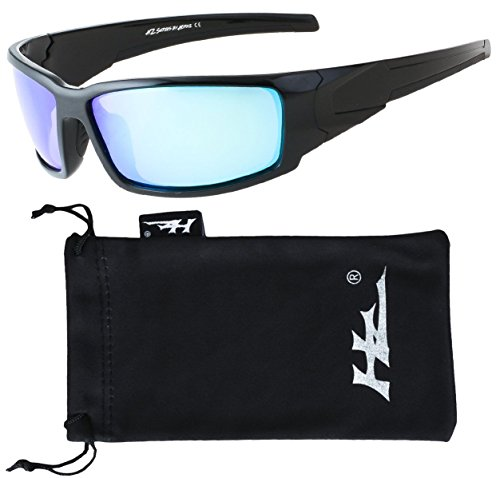 HZ Series Aquabull - Premium Polarized Sunglasses by Hornz – Gloss Black Frame – Ice Blue Mirror - Black Sunglasses Are