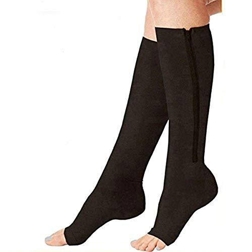 Compression Socks (2 Pairs) New Compression Zip Sox Socks Stretchy Zipper Leg Support Unisex Open Toe Knee Stockings (Black, L/XL)
