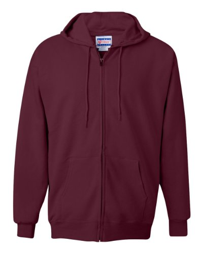 Full Hoody Zip Maroon - Hanes mens 9.7 oz. Ultimate Cotton 90/10 Full-Zip Hood(F280)-Maroon-S