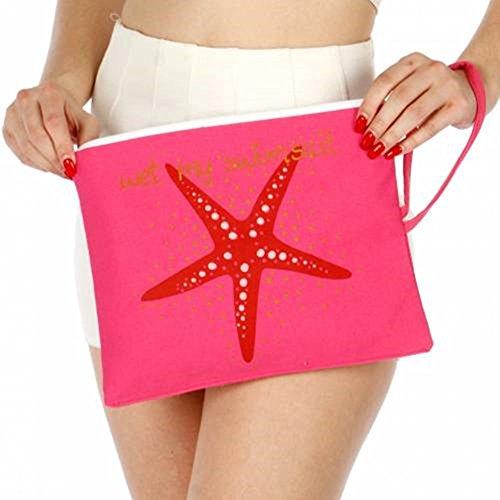 (Knitting Factory Water Proof Cotton Wet Bikini Bag Star Fish Selection (Pink))