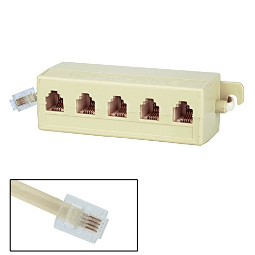 Phone Line Adapter RJ11 6P4C Male Plug to 5 Ports 6P4C Female Socket Phone Line Splitter Adapter, Can Receive Multiple Telephone or Modem Equipment