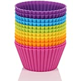 Mango Spot Silicone Baking Cups, Cupcake Liners, Truffle Cups - 12 Pack, 6 Colors