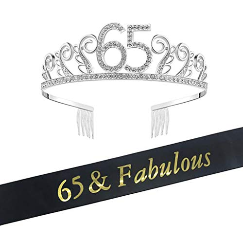 65th Brithday Tiara and Sash, Happy 65th Birthday Decorations Party Supplies, 65 & Fabulous Sash and Crystal Rhinestone Birthday Crown, 65th Birthday Cake Topper