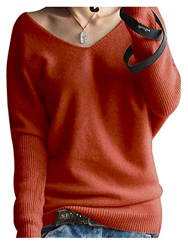 LONGMING Women's Fashion Big V-Neck Pullover Loose Sexy Batwing Sleeve Wool Cashmere Sweater Winter Tops(Rusty Red, S)