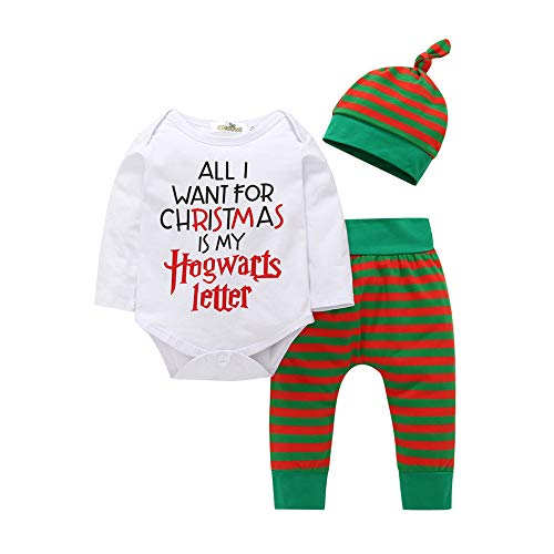 Tronet Christmas Baby Boys Girls Winter Xmas Letter Striped Romper+Pants Infant Fashion Outfits Set (90(Age:12-18Months), White)