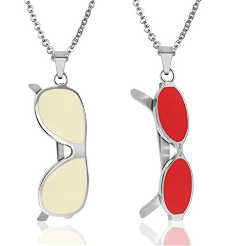 Gnzoe Jewelry, Women Stainless Steel Lovers Beach Glasses Pendant Necklace Chain - Shades Lanvin
