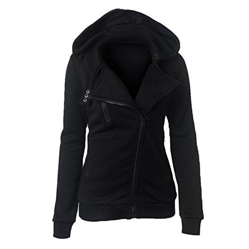 Wancy Womens Long Sleeve Casual Slim Fit Oblique Zip up Hoodie Jacket Coat Plus Size Black 3X-Large