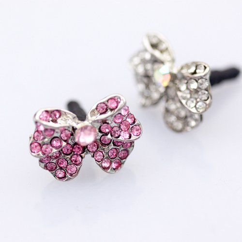 CJB Dust Plug / Earphone Jack Accessory Pink Crystal Rhinestones Small Ribbon for iPhone 4 4s S4 5 All Device with 3.5mm Jack (US Seller)