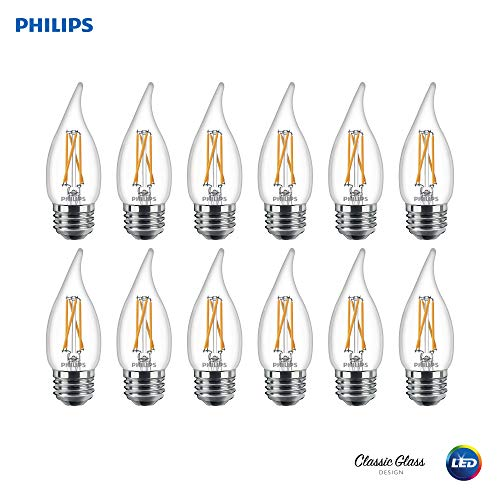 Philips 536698 LED Dimmable BA11 Clear X-Filament Glass Light Bulb with Warm Glow Effect: 500-Lumens, 2700-Kelvin, 5.5 (60-Watt Equivalent), Soft White E26 Medium Screw Base, 12 Pack, Piece ()