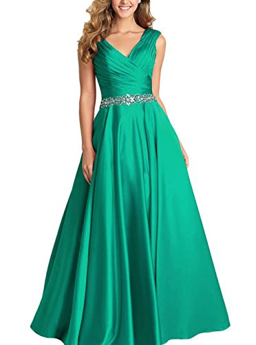 (Emerald V-Neck Pleated Satin Prom Dress Beaded Long Formal Evening Gowns for Women Size 20W)