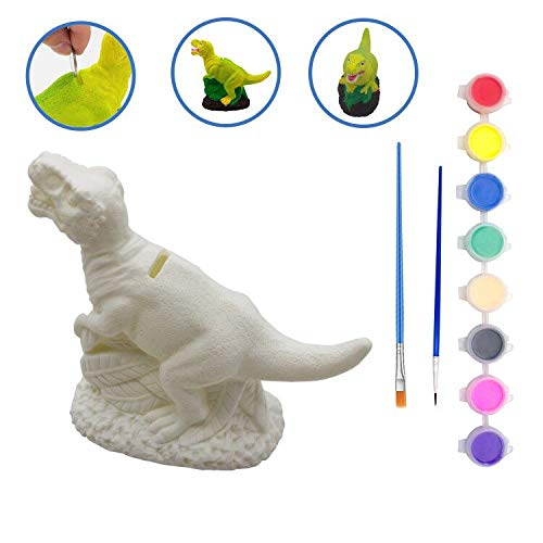 LUCUNSTAR DIY Oil Painting of Piggy Bank Dinosaur Paint Your Own Money Bank for Kids Coin Bank for Boys Room Decor -