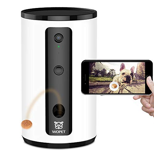 WOPET Smart Pet Camera:Dog Treat Dispenser, Full HD WiFi Pet Camera with Night Vision for Pet Viewing,Two Way Audio Communication Designed for Dogs and Cats,Monitor Your Pet Remotely