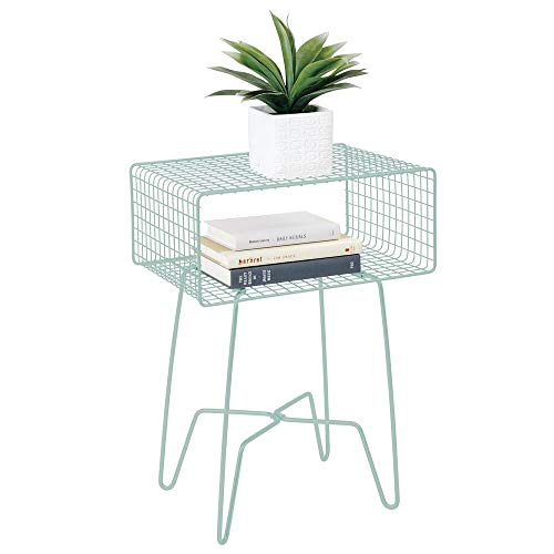 mDesign Modern Farmhouse Side/End Table - Metal Grid Design - Open Storage Shelf Basket, Hairpin Legs - Vintage, Rustic, Industrial Home Decor Accent Furniture for Living Room, Bedroom - Mint Green (Green Vintage Furniture)
