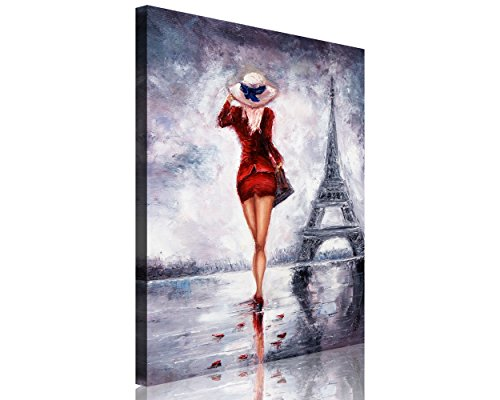 TutuBeer Large Size 1 Piece Elegant Lady in Red Dress Walk in the Eiffel Tower Figurative Print on Canvas with Stretched Frame Women the Picture on Canvas 1-Piece Set Wall - Large Ladies Pictures