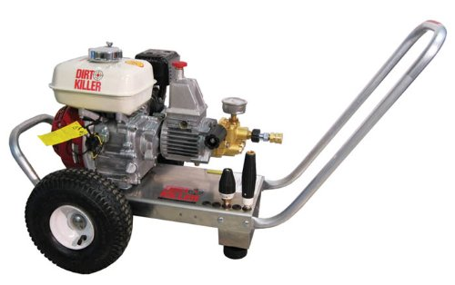 Dirt Killer H200 Cold Water Gas Industrial Pressure Washer with 50' Wire Braided Hose, 2000 PSI, 3.5 GPM, 5.5 HP, Aluminum Frame