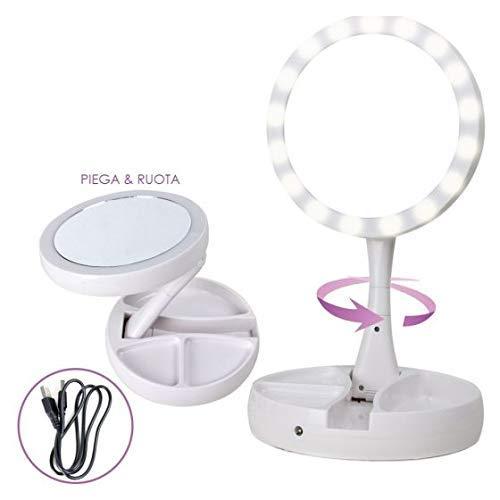 Miroir lumineux pliable Truco lumi/ère LED double miroir All Shop
