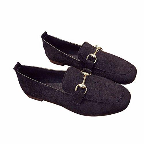 Zapatos Black Boca Plana Pedal Superficial YUCH con Señoras Loafer fwn58Ifz6q