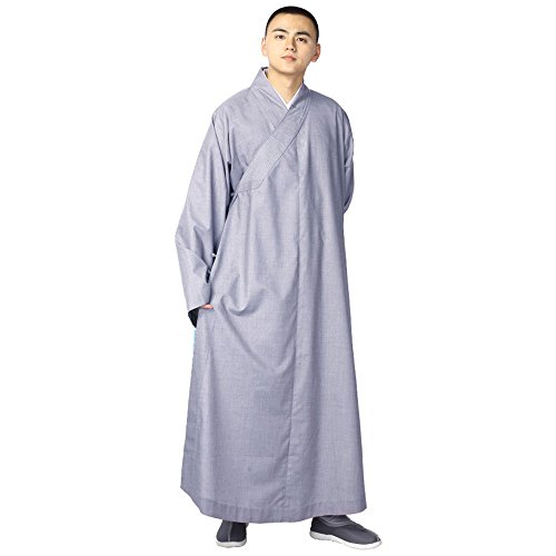 st Shaolin Monk Robe Cotton Linen Long Robes Gown Kung Fu Uniforms Martial Arts Clothings (Blue Gray, 43) ()