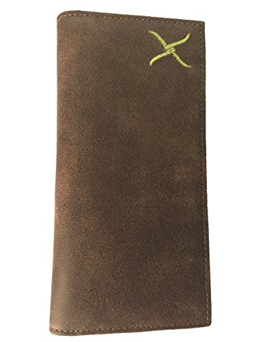 Twisted X Brown Leather Rodeo Wallet with Embroidered Green Twisted X Logo
