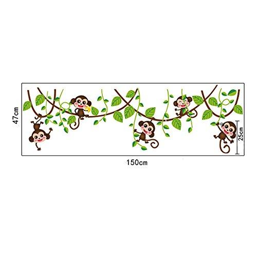 Papillons Arbres Fleurs Stickers Muraux Animaux Mignons De Bande Dessinée Stickers Muraux Amovibles Art Pvc Décoration Murale Bébé Garçons Filles Chambre Enfants Cuisine Décoration Nurserie (robe Noire) Vigne Singe