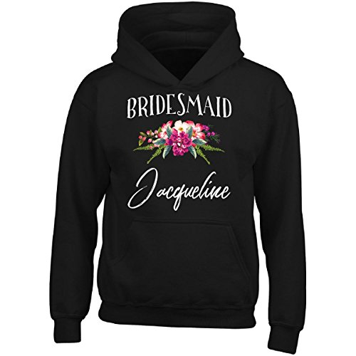 Bridesmaid Jacqueline Customized Name Bridal Party Gift - Adult Hoodie 3XL Black (Jacqueline Bridal Shop)