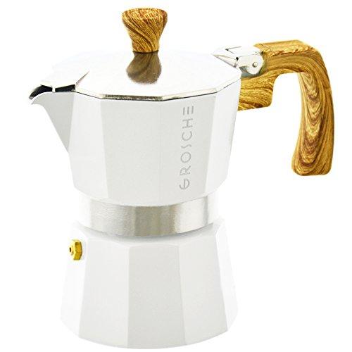 GROSCHE Milano Moka Stovetop Espresso Coffee Maker (3 cup/5 oz, White)